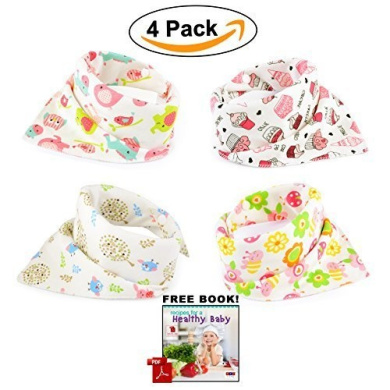 Bandana Baby Bibs For Girls Cute Pretty Princess 100% Cotton Super- . Anti-Smell Anti-Bacterial Apron Quick Dry Avoids Drool Rash with Nickel-Free Snaps, Best for Sensitive Skin Buy Now!
