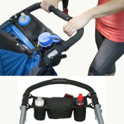 Natural Home Baby Pushchair Bag Universal Organiser with 2 x Bottle Holders