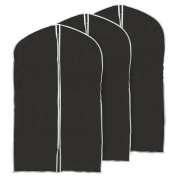 EZOWare Set of 3 Foldable Breathable Garment Bag Storage Cover Bag Protector for Suit, Coat, Fur Outfit, Leather Jacket, Top Shirt, Tuxedo and More Clothes- Black with Grey Trim