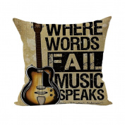 Nunubee Super Soft Home Pillowcase Cotton Cushion Cover Square Decorative Home Accessories Brown Guitar