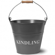 Home Discount® Kindling Bucket, Wood Metal, Grey Slate