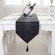 Luxury diamond bright star black damask silk tassel home decorative table runner 200cm approx