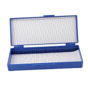 Royal Blue Plastic 50-Place Microslide Slide Microscope Box