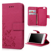 iPhone 6 Case , iPhone 6s Case Cover 12cm (Not For 6/6s Plus) - Lanveni Butterfly Flowers Embossed Retro Premium PU Leather Magnetic Flip Wallet Cover with Detachable Hand Strap & Card Slots & Stand Function for iPhone 6S & iPhone 6 12cm , Deep Pink