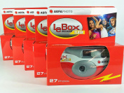 AgfaPhoto LeBox 400 Disposable Camera with Flash 27 Exposures with Flash Pack of 5) for Wedding, Party, Party
