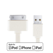 Heavy Duty iPhone 4s/4 Ipad 2m White USB Cable Charger Charging / Sync (Data Transfer) Cable Comaptible with ipod iphone 3g 3gs 4 4s