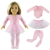 HongShun Doll Clothes Pink Ballet Tutu Dress for 46cm American Girl Fashion Outfit