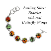 Real Butterfly Sterling Silver Bracelet - Natural, Colourful, Recycled, Sustainable, Bold, Red