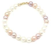 Freshwater White,Pink,Purple Pearl Bracelet,14k Yellow Gold 18cm Long
