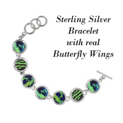 Real Butterfly Sterling Silver Bracelet - Natural, Colourful, Recycled, Sustainable, Green