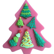 LYNCH Christmas Tree Design Fondant Silicone Chocolate Cake Mould DIY Bakeware,Pink
