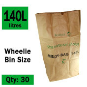140 Litre x 30 Paper Compostable Wheelie Bin Liners - Biodegradable Sacks / Liners - EcoSack 120L / 140L Bags with Composting Guide