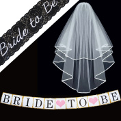 Bachelorette Party Decorations Supplies – SASH ~ VEIL BANNER Kit – Black Lace Embroidered Bride to Be Sash – Classy Wedding VEIL + Comb ~ Bridal Party Games Shower Favours + Bachorlette Night Banner