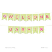 Andaz Press Modern Owl Girl Baby Shower Collection, Hanging Pennant Party Banner with String, Welcome Baby!, 1.5m, 1-Set, Decor Paper Decorations