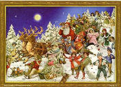 Moonlit Santas Sleigh And Reindeer With Children Christmas Card Advent Calendar With Envelope