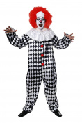 Adult Scary Clown Halloween Costume With Wig
