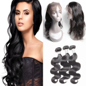 GuangXun Factory Outlets 130% Destiny Full 360 Lace Frontal Closure With 3 Bundles 7A Brazilian Body Wave Virgin Human Hair