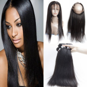 GuangXun Factory Outlets 130% Destiny Full 360 Lace Frontal Closure With 3 Bundles 7A Brazilian Straight Virgin Human Hair
