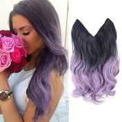 HairPhocas 36cm Black to Purple(Violet) Dip Dyed Coloured Secret Hair Extensions Synthetic Curly Wave Hairpieces