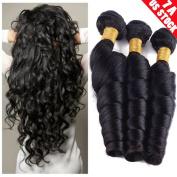 My Lady 7A 1 Bundles/100g 100% Unprocessed Virgin Brazilian Human Hair Weave Loose Wave Hair Extensions Weft #1b Natural Black