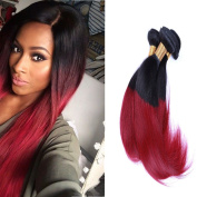 Arling Ombre Straight Brazilian Hair Weft Real Human Hair Extensions Virgin Hair Weave 4 Bundles 100g/pc Mixed Length 1B/Burgundy