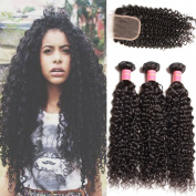 Donmily 6A Brazilian Curly Hair with Closure 3 Bundles Curly Hair Weft with Free Part Lace Closure 100% Unprocessed Virgin Human Hair Extensions Natural Colour