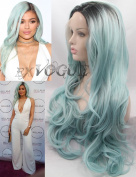 Exvogue Long Light Blue Ombre Celebrity Style Wig is Fashion Lace Front Body Wave Pastel Coloured Synthetic Hair Replacement with Dark Roots