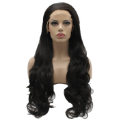 Lushy . Wavy Long Brown Colour Wigs Half Hand Tied Heat Friendly Full Density Synthetic Hair Lace Front Women Natural Wigs