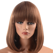 Namecute Brown Wig Shoulder Length BOB Wigs Synthetic Fibre Full Bangs