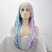 Natural Straight Mermaid Piano Colour Pink To Blue Two Tone Synthetic Lace Front Wig For Women Heat Resistant Replacement Wigs