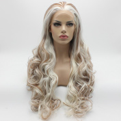 Lushy New Arrival Natural Wavy Long White Auburn Mix Colour Wigs Half Hand Tied Heat Resistant Synthetic Lace Front Women Cosplay Wigs