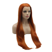 Lushy Beautiful Full Straight Extra Long Silk Blonde Red Mix Colour Wigs Half Hand Tied Heat Resistant Heavy Density Synthetic Hair Lace Front Women . Wigs