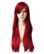 AnotherMe Long Straight Dark Red Wine Red Cosplay Party Hair Wig 70cm Women Heat Resistant Fibre