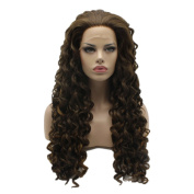 Lushy Cheap Long Curly Brown Blonde Mix Colour Wigs Heavy Density Heat Resistant Synthetic Hair Lace Front Women . Wigs