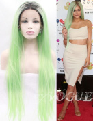 Exvogue Fashion Celebrity Pastel Coloured Ombre Mint Green Wig with Dark Roots Long Straight Lace Front Synthetic Hair Replacement for Women