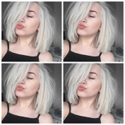 New Summer Silver Silky Straight Hair For Women Short Bob Hair Synthetic Lace Front Wig Heat Resistant Fibre Hair Fashion Wig