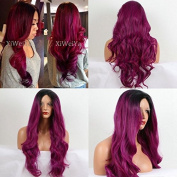Heat Resistant 2 Tone Dark Root Ombre Purple Mixed Colour Synthetic Lace Front Wig Body Wave For Women