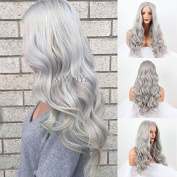 Xiweiya silver grey body wave synthetic lace front wig for women heat resistant replacement wig in stock