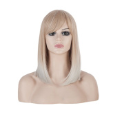 SherryShine 46cm Shoulder Length Straight Full Head Beige Cosplay Wigs Light Green Mixed Colour with Bangs and Free Cap and Comb