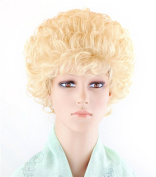 SherryShine 28cm Short Curly Halloween Cosplay Full Head Fluffy Blonde Wigs with Bangs and Free Cap and Comb