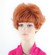 SherryShine Halloween Cosplay 28cm Short Curly Full Head Fluffy Red Wigs with Neat Bangs and Free Cap and Comb