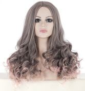 SherryShine Halloween Cosplay 60cm Long Curly Waves Full Head Grey and Pink Mixed Colour Wigs no Bangs for Free Cap and Comb