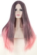 SherryShine Halloween Cosplay 60cm Long Straight Full Head Grey and Pink mixed Colour Wigs with No Bangs for Free Cap and Comb