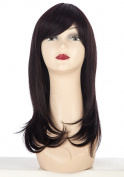 SherryShine Halloween Cosplay 50cm Long Straight Curly Full Head Dark Brown Wigs with Bangs for Free Cap and Comb