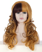 SherryShine Halloween Cosplay 50cm Long Curly Waves Full Head Chocolate and Yellow mixed Colour Wigs with Neat Bangs for Free Cap and Comb