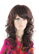 SherryShine Cosplay 50cm Long Curly Full Head Waves Brown Mixed Wigs with Bangs for Free Cap and Comb
