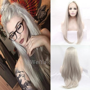 Xiweiya Long Silver Grey Synthetic Lace Front Wig With Heat Resistant Ash Blonde Lace Front Wig For Women