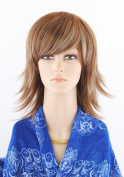 SherryShine Halloween Cosplay 38cm Long Curly Full Head Waves Blonde Mixed Corlor Wigs with Bangs and Free Cap and Comb