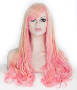 SherryShine Cosplay 60cm Curly Waves Full Head Wigs Light Pink and Yellow Mixed Colour with Bangs for European Women with Free Cap and Comb