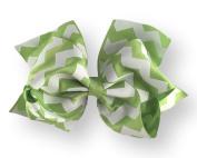 Hair Bow 5.1cm Grosgrain Ribbon 15cm Width Lime Green Chevron